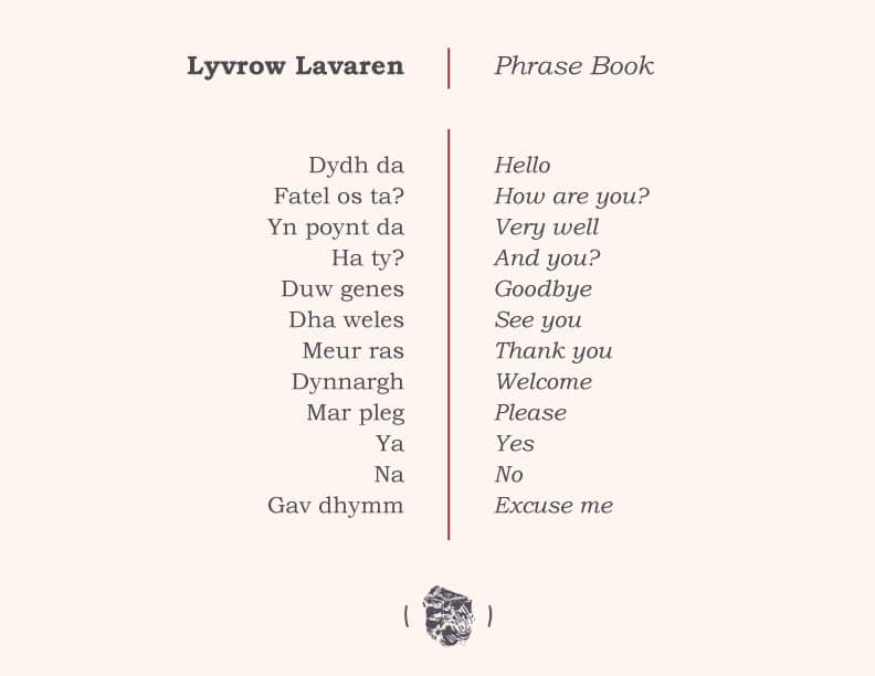 a list of 12 cornish words and phrases translated into English
