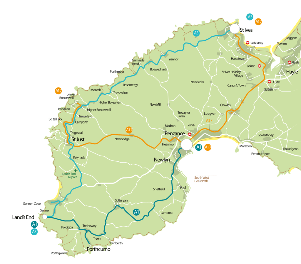 Bus map for First Bus Services that run in and around the Tin Coast